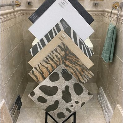 Faux Fur Animal Print Ceramic Tile Floor Stand