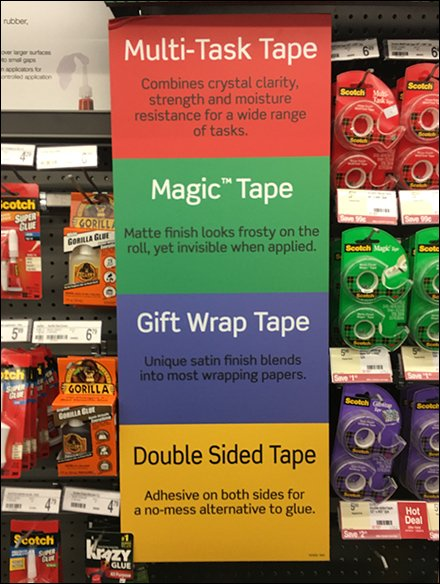 Scotch Tape Color-Coded Category Management