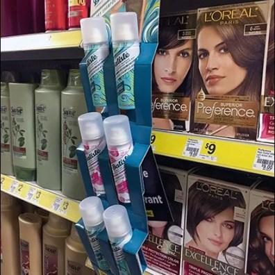 Batiste Dry Shampoo Corrugated Strip Merchandiser Faces Forward