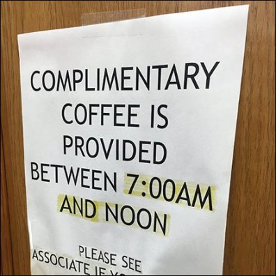 Complimentary Coffee Between 7am and Noon Feature
