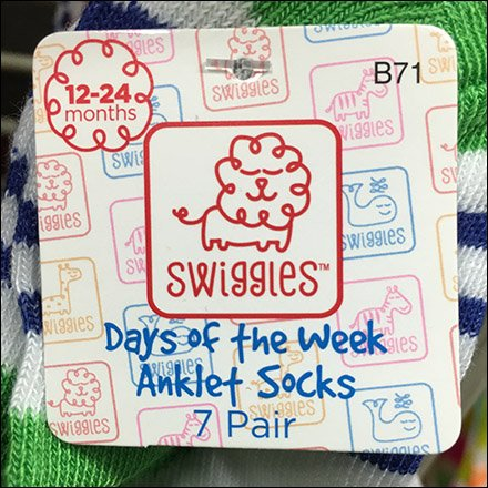 Days Of Week Anklet Socks 7-Pack Bib Tag PowerWing Promo