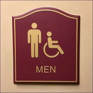 Humpback Men & Handicapped Restroom Sign Plaque