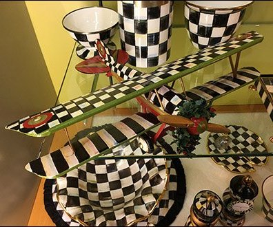 Neiman Marcus Checkered Biplane Tableware 2