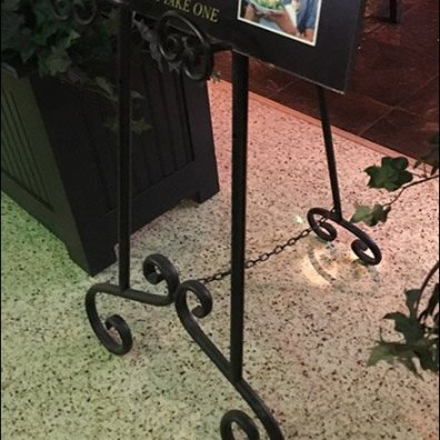 Ornate Wrought Iron Easel at Rustic Kitchen