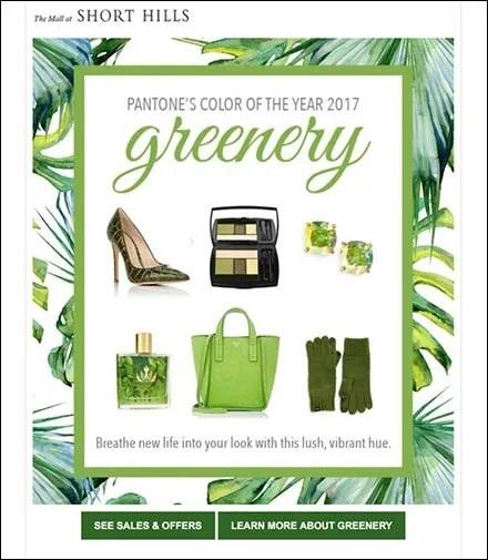 Short Hills Mall Presents Pantone Greenery