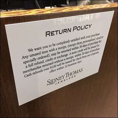 Sidney Thomas Jewelers Return Policy
