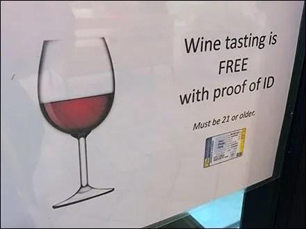 Wine Tasting Free With Photo Proof ID