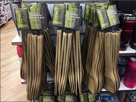 Bamboo-Utensil Mesh-Bag Slatwall Hooked