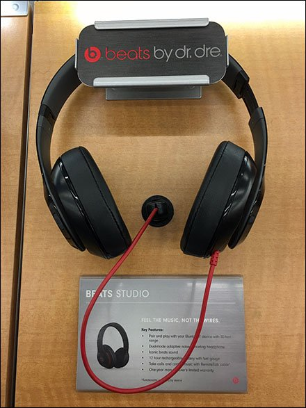 Beats-By-Dr.-Dre Merchandising Display - Dr. Dre C-Channel Sign Holder for Headphones