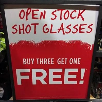 Shot Glass 4-Pack BOGO Buy 3 Get 1 Free
