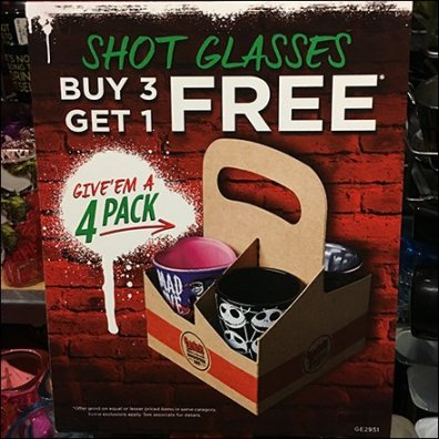 Shot Glass 4-Pack BOGO Nuy 3 Get 1 Free Feature
