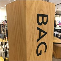 Wood Post Signage for Bag Accessories