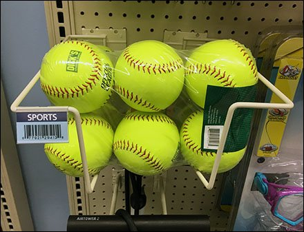 Softball Merchandising By Literature Holder Fixtures Close Up