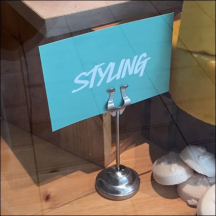 Lush Cosmetics Retail Fixtures - Lyre Table-Top Sign Clip Stand