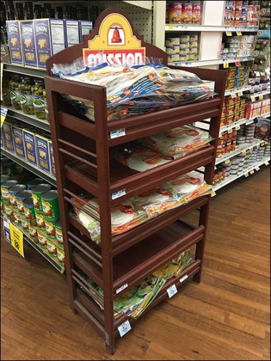 Mission Tortillas Flatbread Merchandising In Mahogany Wood Rack