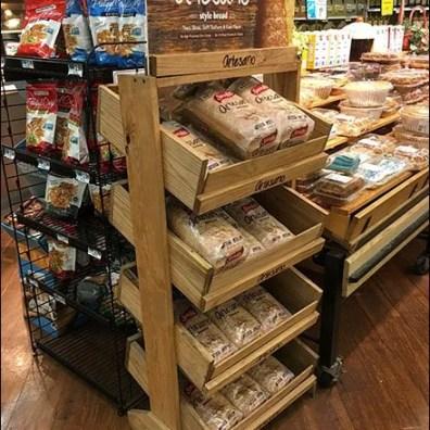 Logo Branded Fixtures - SaraLee Artesano Bread Declined Wood Rack