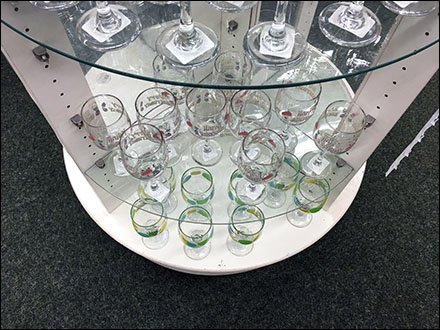 Circular Island The Focus Of Glassware Display