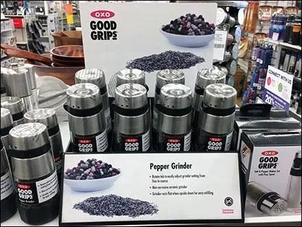 OXO Pepper Grinder Before & After Display