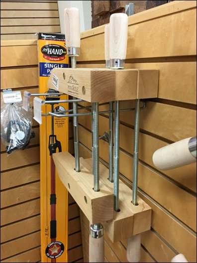 Twin Flip-Front Slatwall Hook For Wood Clamps