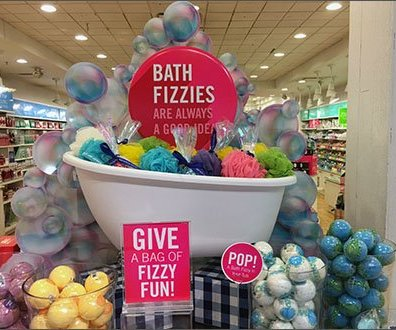 Fizzies and Poufs Display Bath and Body Works