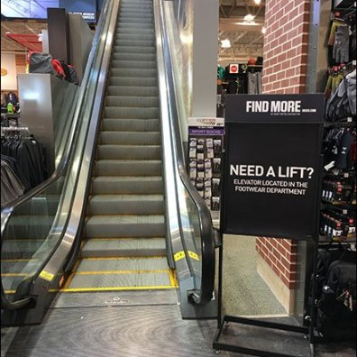 Dicks Sporting Goods Escalator vs Elevator