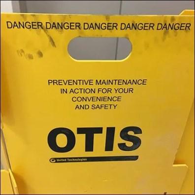Otis Elevator Barricade Danger Square