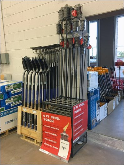 Steel Tiki Torch In Steel Display Floor Rack