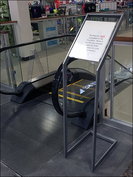 Strollers Not Permitted On Escalator Sign