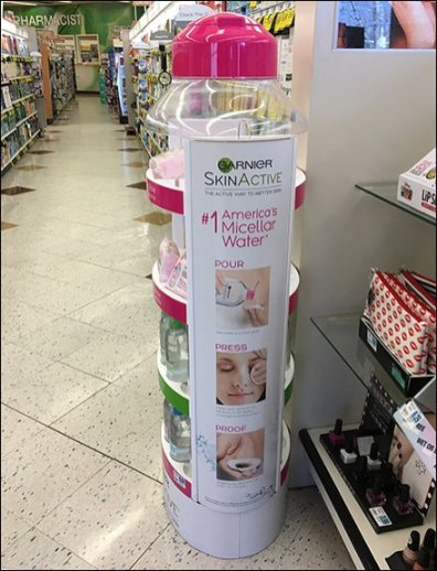 Garnier Micellar Water Bottle As Branded Display