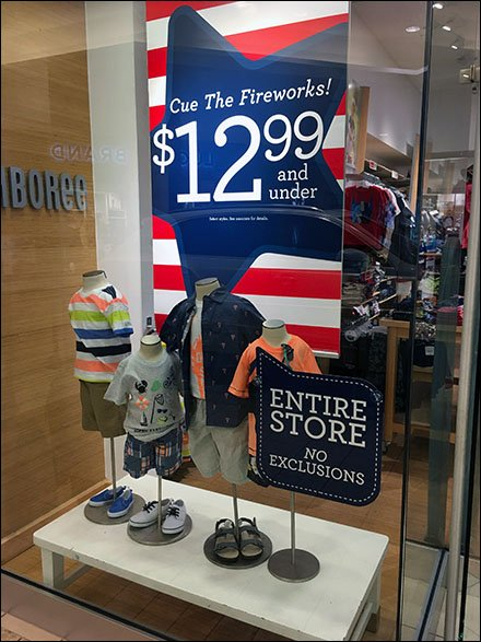 Gymboree Retail Fixtures - Gymboree Queues Fireworks For Holiday Sale