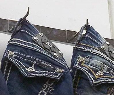 Denim Jeans 90º Tip Hook On A Bar