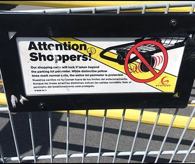 Shopping Cart Mounted Anti-Theft Sign