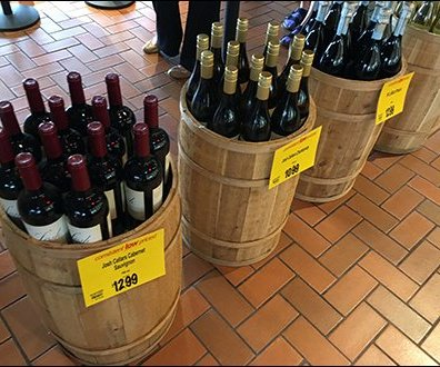 Cashwrap Queue Wine Bottle Barrel Lineup