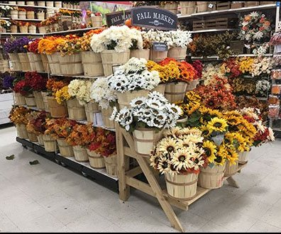 Fall Market Bushel Basket Floral Display