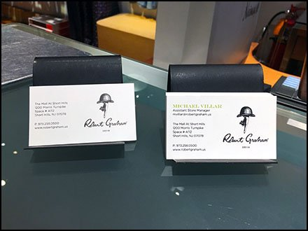 Robert graham in store business cards fixtures close up robert graham in store business cards colourmoves