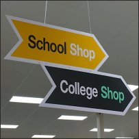 School Shop and College Shop Directional Signs