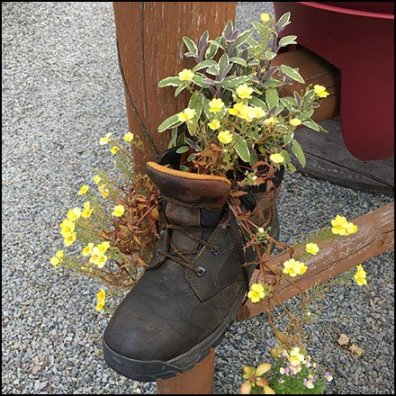 Garden Center Store Fixtures - Wolverine Hiking Boot Planter Props