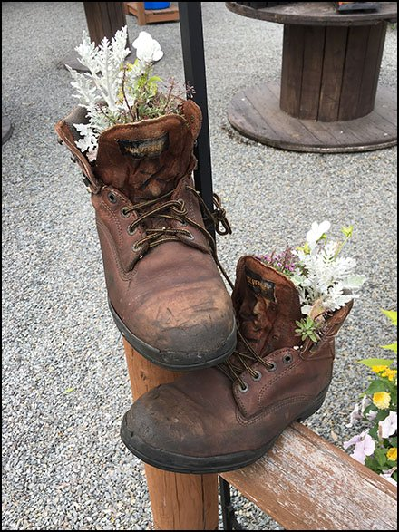 Wolverine Hiking Boot Planter Props