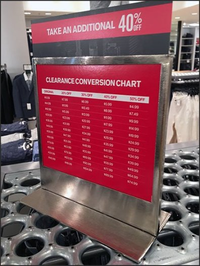 Express Clearance Price Conversion Chart Sign Holder