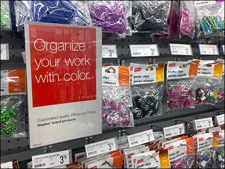 Color-Coded Paper Clip Scan Hook Display