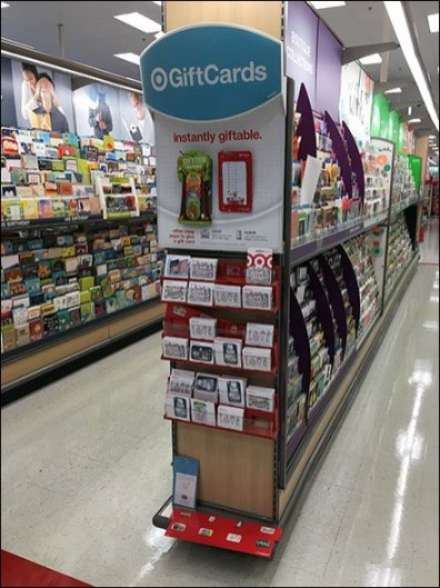Attached-Back Gift Card Straight-Entry Hook Endcap