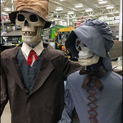 Halloween Couple Shopping Hardware at Lowes