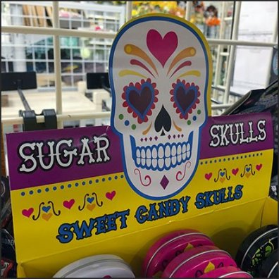 Halloween Sugar Skull Shelf-Top Merchandising