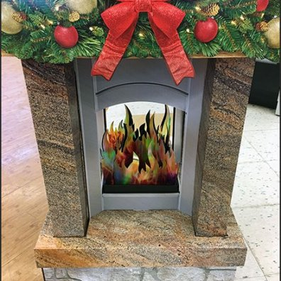 Christmas Fireplace Gift Card Corrugated Display