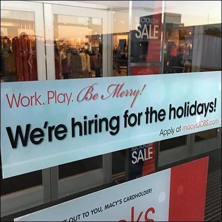 Macys Hiring for Holidays Door Notice