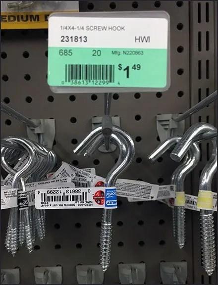 Screw Hook Array Straight-Entry Hook