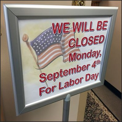 Showroom Closed Labor Day Sign Holder