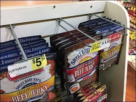 Sweet Baby Ray's Vs Bridgeford Beef Jerky Endcap