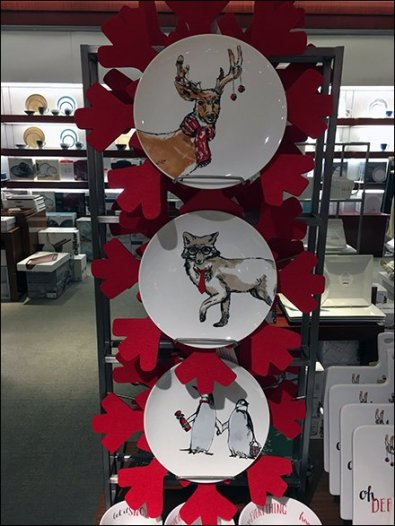Christmas Tableware On Vertical Display