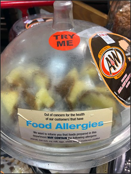 Food Allergies Warning For Try-Me Samples